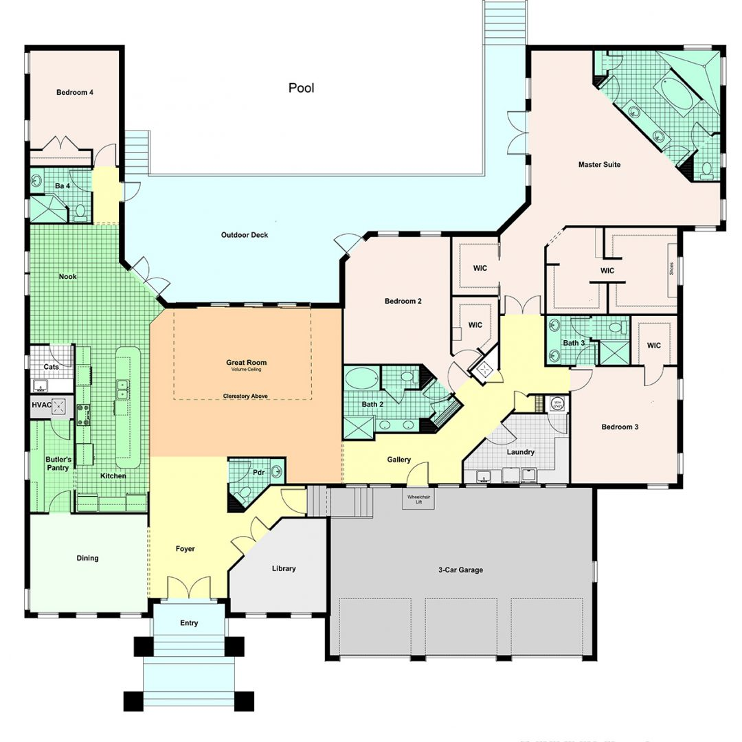 Custom home portfolio floor plans for Custom home plans florida